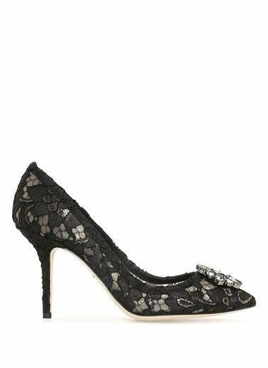 Dolce&Gabbana İnce Topuklu Dantel Ayakkabı Siyah